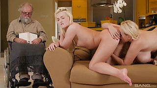 Wild blondes make out during a sexy lesbian tryout