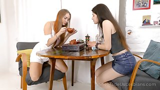 Two best girlfriends are toying each others bedraggled bald pussies