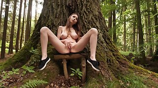 Big-chested Milla rubs her succulent sweet center back the woods