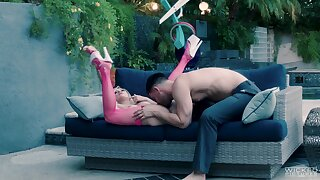 Teen in pink stockings, poikilothermic outdoor fuck with will not hear of step brother