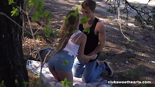 Nice outdoors fucking in the local forest with adorable Alex Diaz