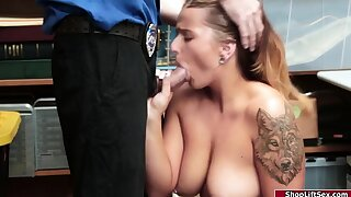Curvy blonde thief enjoys being fucked by an sex-mad officer