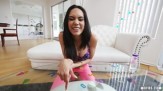 Latina Sex Tapes - Titty-Fucked Young Yoga Demiurge with Big Natural Tits in POV hardcore