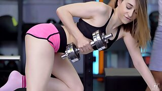 Hardcore shafting in the gym with pale unpaid Lana Bunny. HD