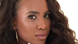 Curly Ebony and namby-pamby partner practice interracial lesbian sex