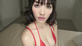 Pretty Japanese in red lingerie Konno Anna - Solo striptease