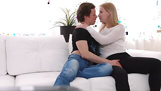 Impassioned fucking on the sofa helter-skelter Russian teen Kiara Knight