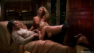 Alexis Malone enjoys a missionary and a doggy style in a threesome