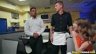 Slutty Anya Olsen seduces a waiter at a restaurant and pounds him