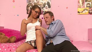 Teen slut with glasses Natasha Vega blows and rides dick