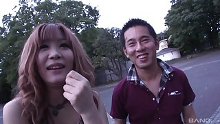 Hardcore blowjob in public with a cute Japanese redhead babe