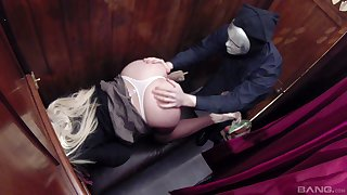 Kinky blonde Tamara Grace sucks her priests cock and gets a cumshot