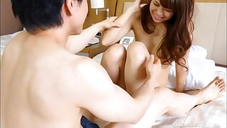 Pussy creampie for a cute Japanese brunette in a hotel room