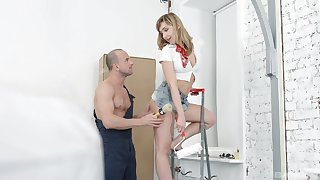 Blonde housewife Connie Sparkle fucked and cum sprayed by the handyman