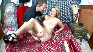 Blonde MILF babe sucks and rides a big dick while wearing high heels