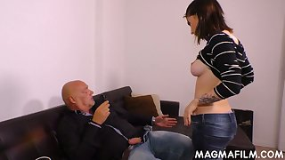 Kinky bald headed lady's man fucks naughty young brunette and cums on her face