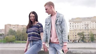 Shy girl Adel gives a blwojob and gets her pussy creampied on make an issue of first date