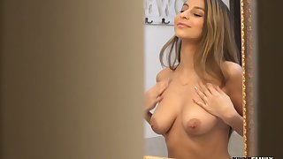 Powered stepbrother spies on his busty stepsis and then goes down on her