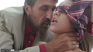 Hot and sexy Latina babe Alina Lopez gets blindfolded and fucked doggy