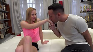 Slow-witted peaches girl Anna P gives stunning fiend and gets penetrated