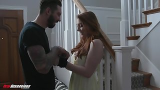 Ginger girl Arietta Adams gives her head and gets fucked in all directions different positions