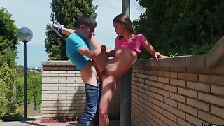 In public young Russian beauty fills hairy pussy pikaper...